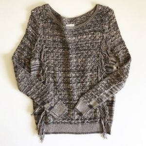 Melrose and Market Open Knit Fringed Sweater Sz S